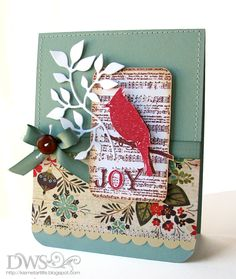 Basic Grey DSP, Sizzix leafy die, Cardinal Christmas card
