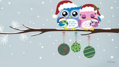 Merry Christmas Owl Family - Winter Wallpaper ID 1882325 - Desktop Nexus Nature