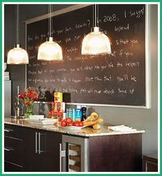 Framed chalk board in office... Or Pantry??