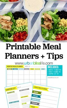 Meal planning is made easy with this FREE printable meal planner set: Weekly Meal Planner, Monthly Meal Planner, and Printable Grocery List. Plus: tips + meal prep recipes, all on UrbanBlissLife.com. #mealprep #mealplanning #printables #printableplanner #planners #shoppinglist #grocerylist #freeprintable #healthymeals