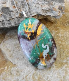 Beach Jewelry Heron Pendant Fused Glass Nature Pendant by GlassCat