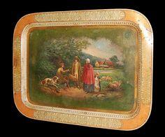 English Hand Painted Tole Tray; circa 1880
