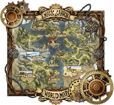 game map ui cartography steampunk | Create your own roleplaying game material w/ RPG Bard: www.rpgbard.com | Writing inspiration for Dungeons and Dragons DND D&D Pathfinder PFRPG Warhammer 40k Star Wars Shadowrun Call of Cthulhu Lord of the Rings LoTR + d20 fantasy science fiction scifi horror design | Not Trusty Sword art: click artwork for source