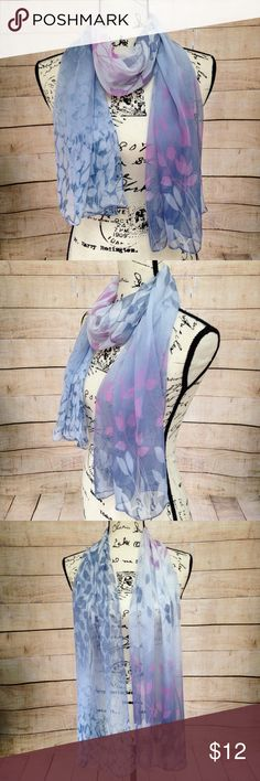 """Lavender Rose Pink Flowery Scarf Lightweight flowery scarf featuring lavender purple, blue, rose, and pink colors. 100% silk feeling polyester. Measurements: 20"""" x 62"""". NWT. Accessories Scarves & Wraps"""