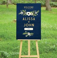 A Navy & Gold Chalkboard Wedding Welcome sign is the perfect introduction to your special day. A mix of art deco and modern type, paired with vintage rustic flowers that I hand painted in watercolor. Perfect for an outside wedding. Chalkboard Wedding, Wedding Signage, Trendy Wedding, Our Wedding, Dream Wedding, Wedding Rustic, Budget Wedding, Spring Wedding, Elegant Wedding