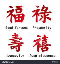 Four Chinese Characters -- Good Fortune, Prosperity, Longevity ...