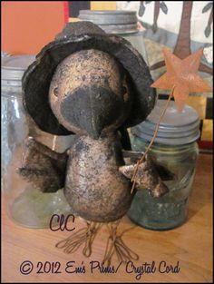 Primitive art Halloween witch Crow bird folk art doll Wand