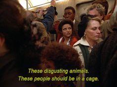 Elaine on a subway train