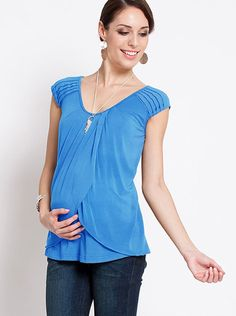 Azure Blue Maternity & Breastfeeding Top