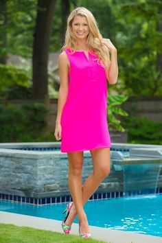 The perfect hot pink dress is here and it's a must have!! Perfect for church or lunch with the girls!