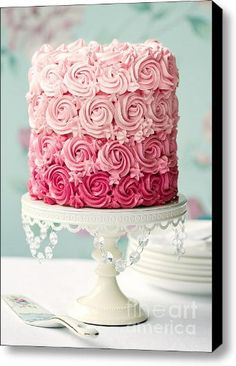Amazing layered ombre cakes. Image: Pink ombre cake Canvas Print / Canvas Art - Artist Ruth Black