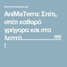 AniMaTerra: Σπίτι, σπίτι καθαρό γρήγορα και στο λεπτό.....................!!!!!!