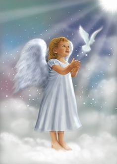 Angela and Flying Dove by DBK-Art Licensing Types Of Angels, I Believe In Angels, Angel Pictures, Beautiful Angels Pictures, Angels Among Us, Angels In Heaven, Heavenly Angels, Guardian Angels, Guardian Angel Images