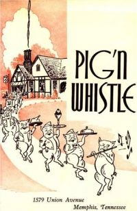 """A menu cover from """"Pig & Whistle"""" Drive In on Union Avenue. Their onion rings were the very best in Memphis. Memphis Restaurants, Memphis Tennessee, Hanging Out, Hot Pink, High School, Memories, Onion Rings, Youth, Peach"""