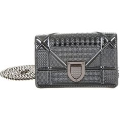 Pre-owned Christian Dior Micro Diorama Flap Bag (5,815 SAR) ❤ liked on Polyvore featuring bags, handbags, shoulder bags, silver, leather purses, man bag, shoulder handbags, hand bags and genuine leather handbags