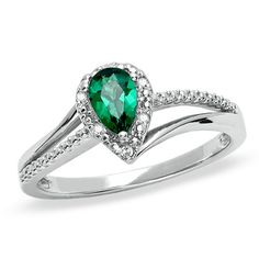 Pear-Shaped Lab-Created Emerald Ring in Sterling Silver with Diamond Accents