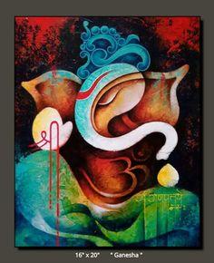 Lord Ganesha Paintings, Ganesha Art, Krishna Painting, Madhubani Painting, Indian Art Paintings, Modern Art Paintings, Buddha, Canvas Painting Tutorials, Cool Art Drawings