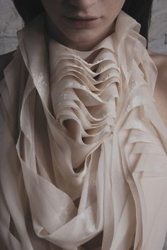 Fabric manipulation for fashion with rippling layers, soft folds and subtle powdery surface textures - sewing; art with fabric; textiles