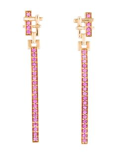 $1,995.00 | 18K yellow gold drop earrings featuring 0.58 carats of sapphires at geometric ornaments and clutch back closures.
