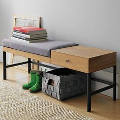 Offset bench and drawer. $300 at West Elm. A great piece for an apartment entry area.