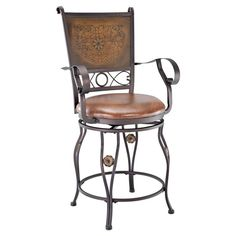 Powell Big & Tall Copper Stamped Back Swivel Counter Stool with Arms - 222-430