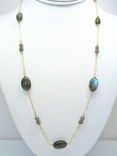 Labradorite Long Necklace 14K Gold Filled