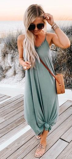 30 Magical Summer Outfits To Wear Right Now blue spaghetti strap maxi dress The post 30 Magical Summer Outfits To Wear Right Now appeared first on Summer Diy. Trendy Summer Outfits, Spring Outfits, Summer Outfits For Vacation, Look Fashion, Fashion Clothes, Womens Fashion, Dress Fashion, Street Fashion, Fashion Beauty