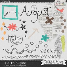 #2016 August - Doodles & Stamps by Connie Prince. Includes 20 doodle & stamp elements. Saved in PNG format. Scrap for hire / others ok.