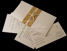 Gold pebble wedding beach invitations by Invitations by Tango Design. Handmade in Australia and servicing worldwide. #goldwedding #goldinvitations #pebbleinvitations #wedding #beach #invitations