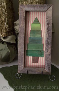 Under The Table and Dreaming: DIY Wooden Frame and Shim {paintstick} Christmas Tree