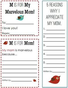 M is for Mom: Printable Notes for Mother's Day FREEBIE