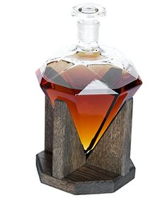 Diamond Whiskey Decanter 1000ml Glass Liquor Decanter - Scotch, Rum, Bourbon, Vodka, Tequila or Mouthwash Decanter