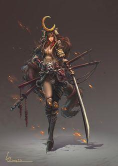 Pin by fantasy king on sword art in 2019 Female Character Concept, Character Design Cartoon, Fantasy Character Design, Character Inspiration, Character Art, Fantasy Girl, Fantasy Warrior, Female Samurai, Samurai Art