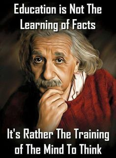 """Education is not the learning of facts. It's rather the training of The Mind to THINK."" ~Albert Einstein ╰★╮"