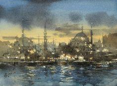 【伊斯坦堡的白日夢 / Fantasia of Istanbul】27 x 37 cm . 2017, Watercolor plein air demo by 簡忠威 (Chien Chung-Wei)