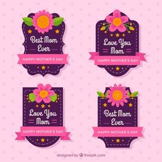 fantastic-mother-s-day-badges-with-pink-ribbons-and-flowers_23-2147615197.jpg (626×626)