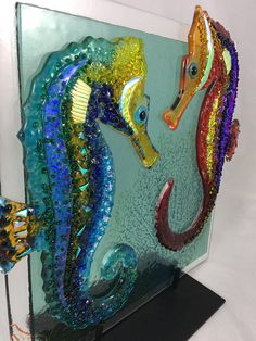 PAIR OF SEAHORSES Dichroic Sea Horse Fused Glass Art
