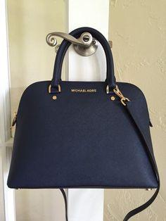 Michael Kors Cindy Large Dome Satchel Saffiano Leather Navy Blue 30S5GCPS3L #MichaelKors #Satchel