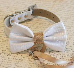 White and burlap Dog Bow Tie, Dog ring bearer, Pet Wedding accessory, Burlap Wedding accessory, Rustic wedding idea