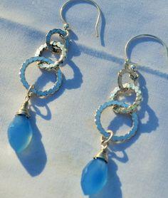 Hoops and blue stone earrings  Dangling hoops by designsbyegs, $39.00