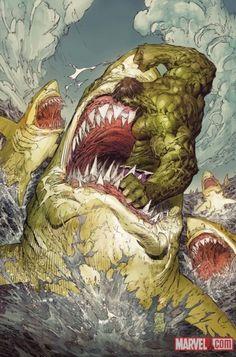Hulk amidst a Great White feeding frenzy!  The gulls will feast tonight!