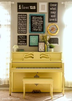 I really want to paint our piano blue and I love the display above the piano! How to paint your piano - it's easier than you think! Love this pop of yellow! Painted Pianos, Painted Furniture, Furniture Makeover, Diy Furniture, Furniture Cleaning, Living Colors, Do It Yourself Furniture, Piano Tutorial, Piano Room