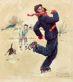 Four Seasons Calendar:  Grandpa and Me- Winter 1948.  Nothing could be better calculated to show the youthfulness of Granpa's spirit.  On a day that should send him scurrying to the fireside with his aching bones, he dazzles his grandson w/ his skill on skates.