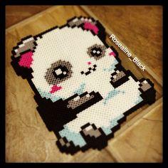 Big panda perler beads by Rosealine Black