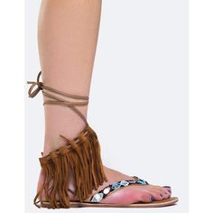 FRINGE BEADED SANDAL ($35) ❤ liked on Polyvore featuring shoes, sandals, brown, wrap around sandals, fringe sandals, fringe shoes, qupid shoes and brown fringe sandals