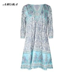 1edbf7a789 AMOMA Women s Three Quarter Sleeve Deep V-neck Floral Print Bohemian Summer  Beach Mini Dress