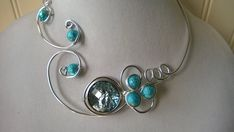 Turquoise necklace, Turquoise jewelry set - Alu wire jewelry set - Open necklace - Wire wrapped necklace - Metal wire necklace  This unique and wonderful set of necklace and earrings promises a lot of compliments.. If you want to feel really unique in any occasion, this is your set