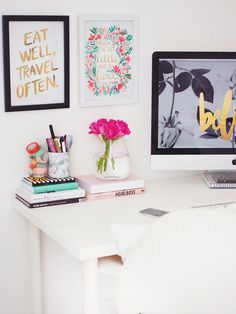bright office / via kate la vie.