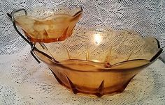 #Vintage harvest gold #glass chip and salsa or dip set #1970's / 1960's,  View more on the LINK: http://www.zeppy.io/product/gb/2/131765511932/