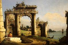 """""""Capriccio con arco di trionfo in rovina sul bordo della laguna"""", Bellotto, 1743 -"""